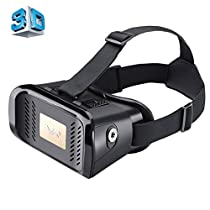 MZ100 Head-mounted Google Cardboard Version Virtual Reality DIY 3D VR Video Movie Game Glasses for iPhone 6 Plus, All 4.7-5.5 inch Smart Phones(Black)