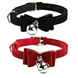 ASOCEA Pet Cat Dog Bowtie Collar with Bell(2Pack)