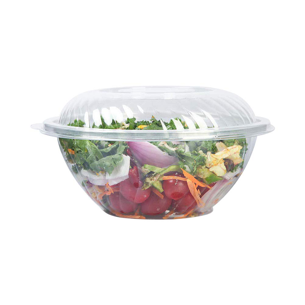 YuSheng Plastic Disposable Salad Bowls,160 Ounce-12 Pack,Portable size Storage Containers with Eco-Friendly Dome Lids and Convenient to Use for Restaurant or Party Take Home Boxes,Clear