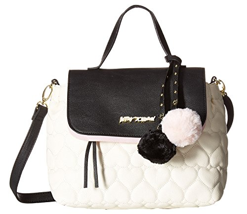Betsey Johnson Women's Be Mine Top-handle Satchel Cream/black Satchel Bb17250-107