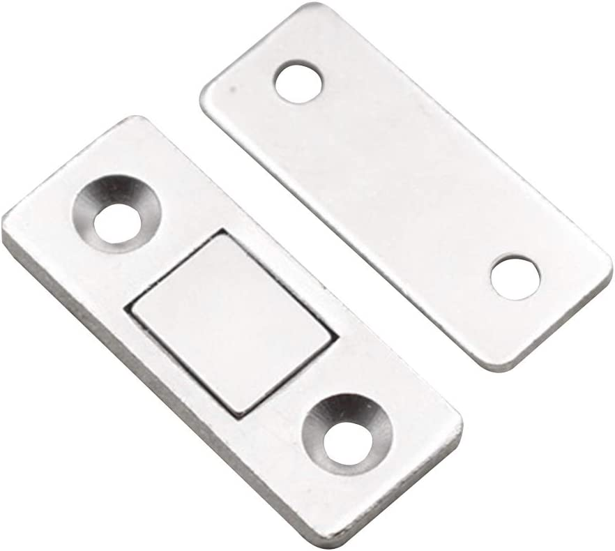 Paquete de 2 pestillos magnéticos ultrafinos para puerta corredera, resistentes, duraderos para muebles de hogar, armarios, etc. Cierre magnético con tornillos (color plateado)