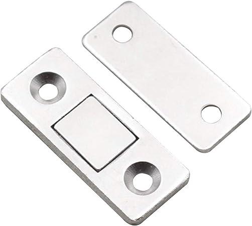 Paquete de 2 pestillos magnéticos ultrafinos para puerta corredera, resistentes, duraderos para muebles de hogar, armarios, etc. Cierre magnético con tornillos (color plateado): Amazon.es: Hogar
