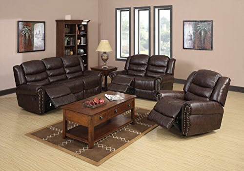 Lifestyle 3-Piece Living Room Vintage Brown Leather Reclining Sofa, Loveseat, and Chair Set