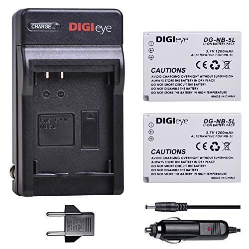 DIGIeye 2Pcs 1200mAh NB-5L NB5L Battery and Charger for Canon PowerShot S100, S110, SD700 is, SD790 is, SD800 is, SD850 is, SD870 is, SD880 is, SD890 is ()