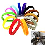 LITTLEGRASS Adjustable Puppy ID Collars Bands Newborn Reusable Adjustable Soft Collars 12 Colors