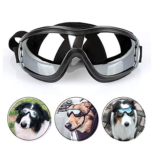 PETLESO Dog Goggles - Large Dog Sunglasses UV Protection Waterproof Windproof with Adjustable Strap Pet Goggles for Medium to Large Dog, Black