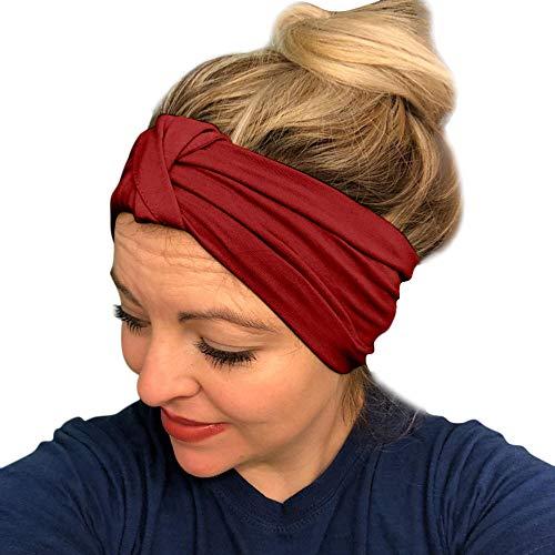 (URIBAKE Women Stretch Headbands Solid Wide Hair Wrap Accessories Knot Headband)