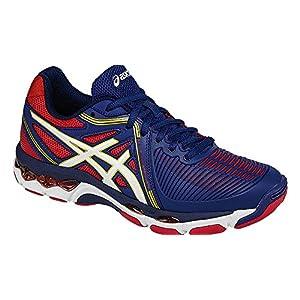 ASICS Women's Gel-Netburner Ballistic Volleyball Shoe, Estate Blue/White/True Red, 8 M US