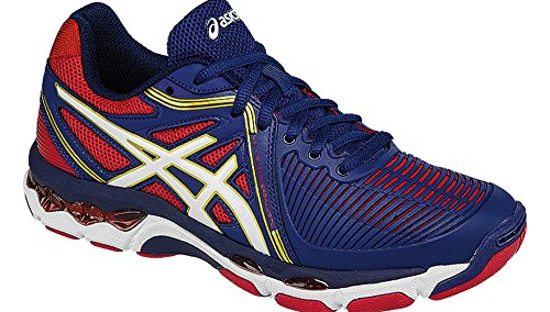 ASICS Women's Gel-Netburner Ballistic Volleyball Shoe, Estate Blue/White/True Red, 10.5 M US by ASICS