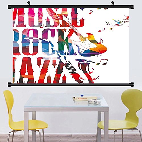 Gzhihine Wall Scroll Musical Music Rock Jazz Lettering with Bass Guitar Saxophone Notes Harmony llustration Wall Hanging Multicolor - Outlets Jackson Bass