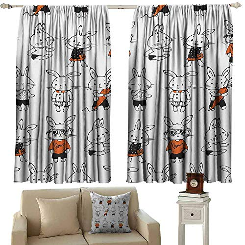 Kids Room Curtains Funny Cute Retro Bunny Rabbits with Costumes Jack Hare Funky Bunnies Carrot Sketch Style Thermal Insulated Tie Up Curtain W63 xL45 Orange White ()