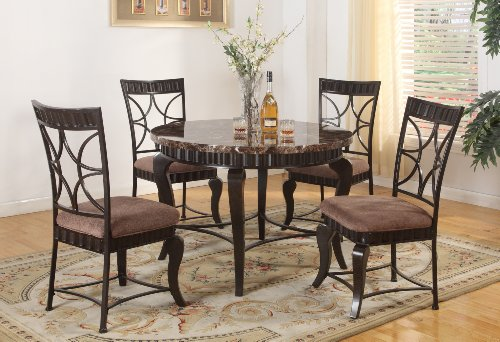 Roundhill Furniture 5-Piece Round Artificial Natural Marble Top Dining Set, Includes 1 Table and 4 Chairs