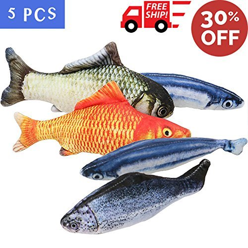 MAXXV® Catnip Fish Toys for Cats - North American Organic Catnip - 5PCS Catnip Toys for Cats - 8\