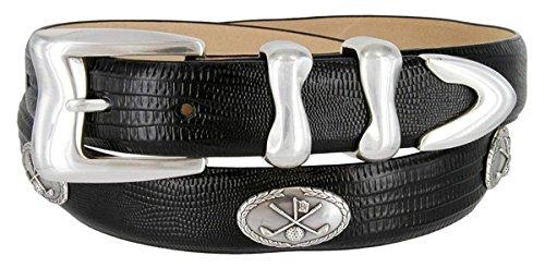 - Hagora Men 30 mm Wide Genuine Italian Calfskin Silver Golf Concho & Buckle Belt,Lizard Black 48