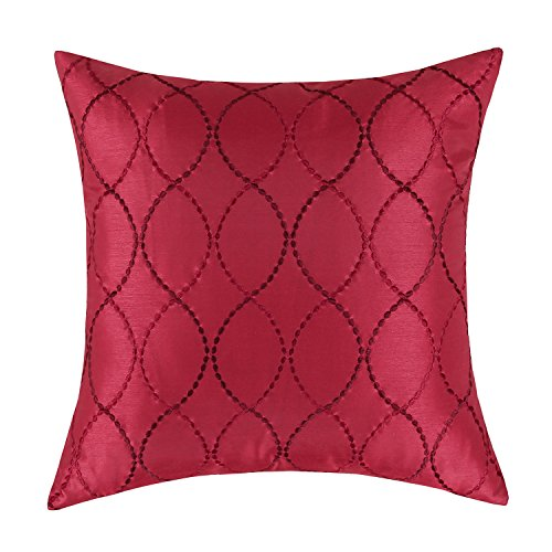 CaliTime Pillow Shell Cushion Cover Faux Silk Modern Waves Geometric Embroidered 18 X 18 Inches Deep Red