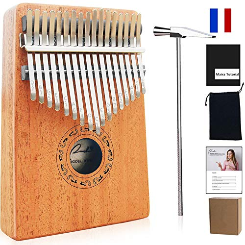 Thumb Piano Ranch Kalimba 17 keys Finger Mbira with Online 5 Free Lessons Solid Wood Mahogany with Bag/Carved Notation/Tune Hammer/Music Book