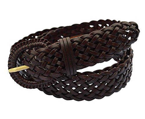 - E-Clover Fashion Leather Woven Braided Belts Women's Jean Belt (Coffee)