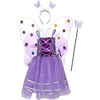 Amosfun Las niñas se disfrazan de la Princesa Fairy Costume Led alas de Mariposa fijadas para los niños Las niñas de Hadas Led Doble Capas ala de Mariposa Varita Wing Diadema Vestido de Fiesta