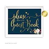 Andaz Press Wedding Party Signs, Navy Blue Burgundy Florals with Metallic Gold Ink, 8.5x11-inch, Please Sign our Guestbook, 1-Pack, Colored Fall Autumn Decorations