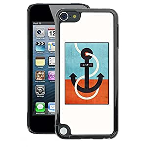 A-type Arte & diseño plástico duro Fundas Cover Cubre Hard Case Cover para Apple iPod Touch 5 (Teal Captain White Minimalist Boat)