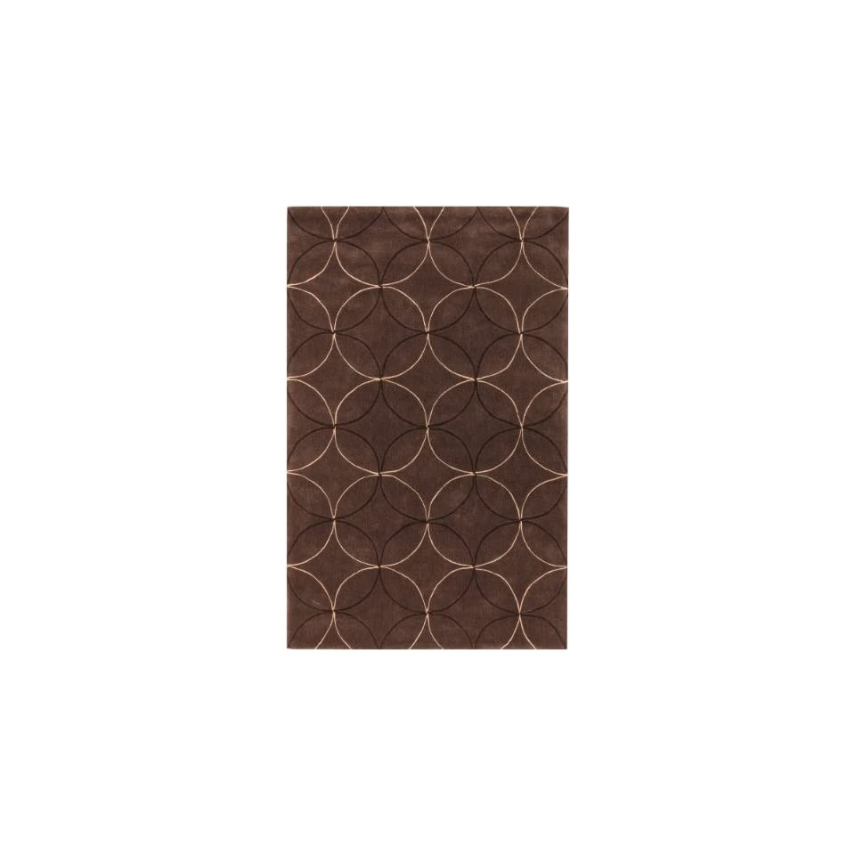 Surya Cosmopolitan COS 8868 Transitional Hand Tufted 100% Polyester Hot Cocoa 8 x 11 Geometric Area Rug