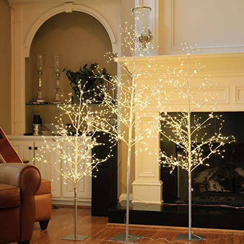 LIGHTSHARE Christmas Tree Combo Kit - Starlit Tree Collection with Angel Lights, 4 feet 5 feet and 6 feet, Silver, Pack of 3, Perfect for Home Decor Holiday Party Wedding (Trees Luxurious Christmas)