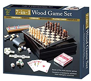 Hoovy Board Games Center: 7-in-1 Tabletop Board Games Set for Kids/ Adults|Chess, Checkers, Backgammon, Dominos, Cribbage, Play Cards & Poker Dice Travel Table Games for Families Friends & Game Night