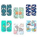 Women's 3D Cartoon Print Colorful Funny Casual Crazy Amazing Novelty Ankle Socks (unicorn 1)