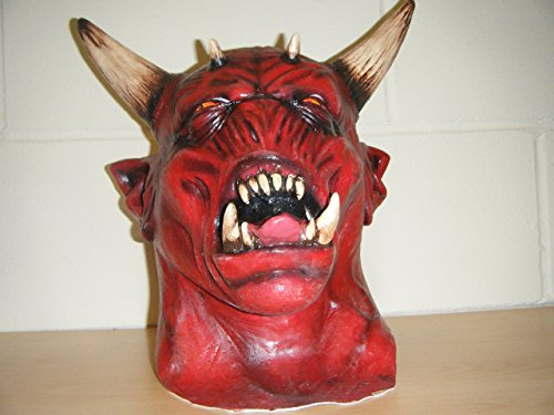 WRESTLING MASKS UK Devil Zombie Monster Horns Horror Deluxe Halloween Full Head Fancy Costume Mask -