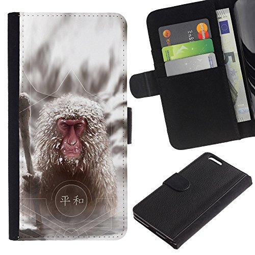 EuroCase - Apple Iphone 6 PLUS 5.5 - Cool Japanese Snow Monkey - Cuir PU Coverture Shell Armure Coque Coq Cas Etui Housse Case Cover