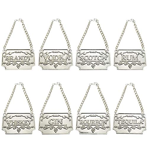 8PCS Silver Liquor Decanter Tags/Labels Whiskey, Bourbon, Scotch, Gin, Rum, Vodka, Tequila and Brandy - Silver Colored - Adjustable Chain Fits Most Bottles (Silver)