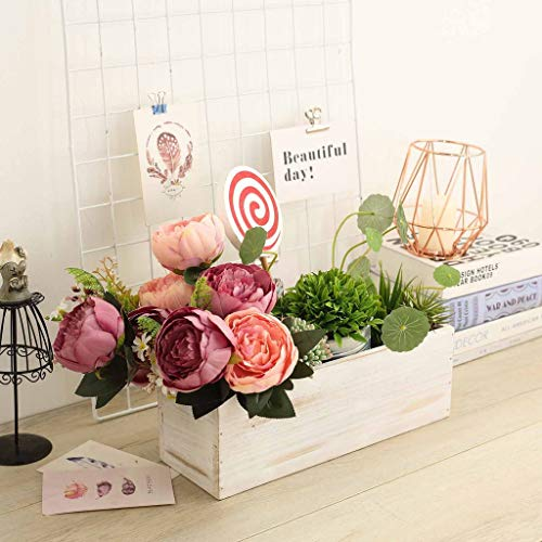 Efavormart 14x5'' Whitewash Wood Planter Boxes with Plastic Liner DIY Rustic Boxes Rectangle Wood Boxes for Party Decor -