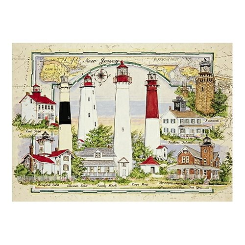New Jersey Pc - Heritage Puzzle - Donna Elias - Lighthouses Of New Jersey - Jigsaw Puzzle - 550 Pc