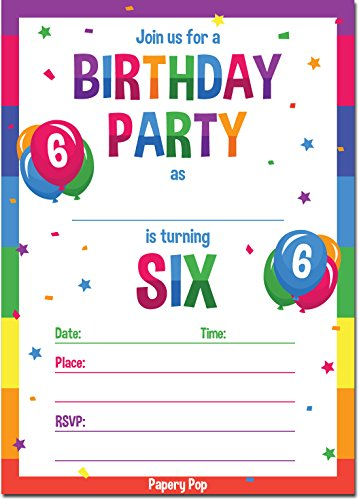 Papery Pop 6th Birthday Party Invitations with Envelopes
