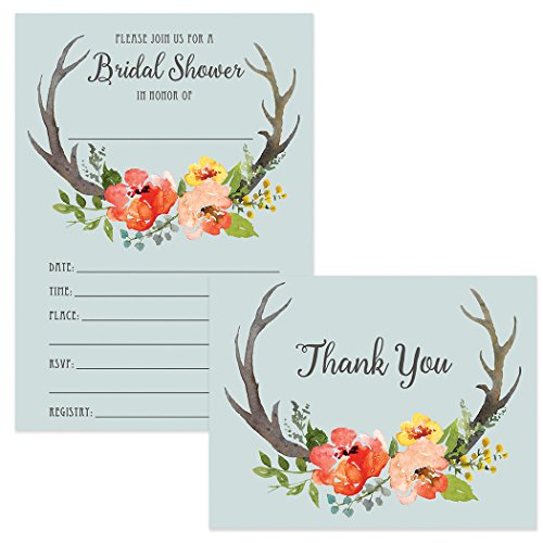 Bulk Bridal Shower Invitations & Thank You Cards 100 Each Large Group Big Family Gathering Boho Blue Country 5x7