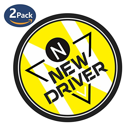 Nkomax New Driver Vehicle Bumper Magnet Safety Sign, Vehicle Bumper Reflective Vehicle Car Sign Sticker for New Drivers(2 pack?Yellow)