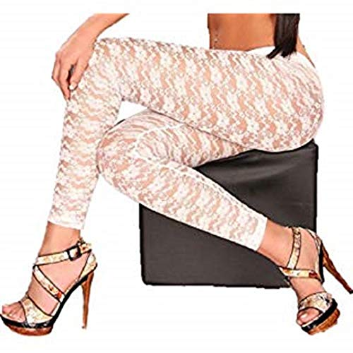 LOVEY'S DEN Lace Capri Leggings - Footless Tights Floral Pattern Cropped Pants (White)