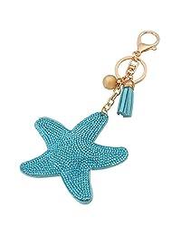 Starfish Pendant Studded Faux Crystal Key Chain Alloy Keyring Keyfob Porte-cles