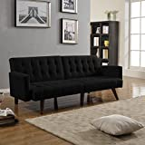 Modern Convertible Tufted Bonded Leather Splitback Sleeper Sofa Futon (Black)