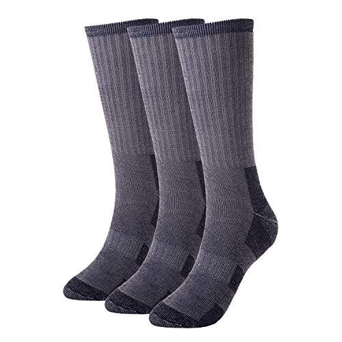 Men's Merino Wool Socks, 3 Pairs Gmoka Hiking Hunting Crew Winter Thermal Socks