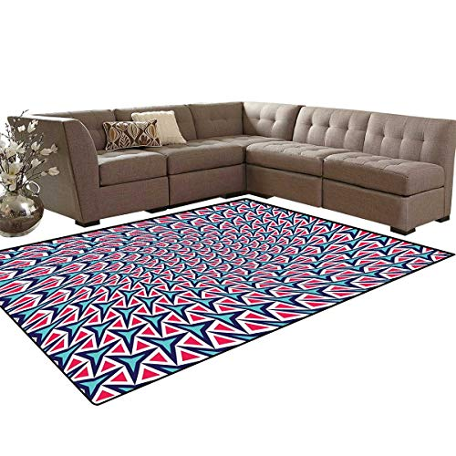 - Trippy Door Mats Area Rug Geometric Shapes in Abstract Design Retro Optical Illusion Hipster Anti-Skid Area Rugs 6'x9' Turquoise Indigo Dark Coral