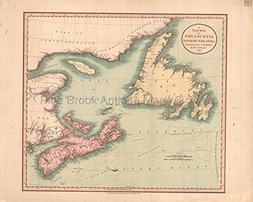 Nova Scotia Newfoundland Antique Map Cary 1808 Original Canadian Decor History Gift Idea