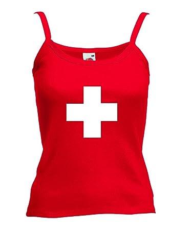 world of shirt Damen T Shirt Schweiz Kreuz Lady Fit Strap