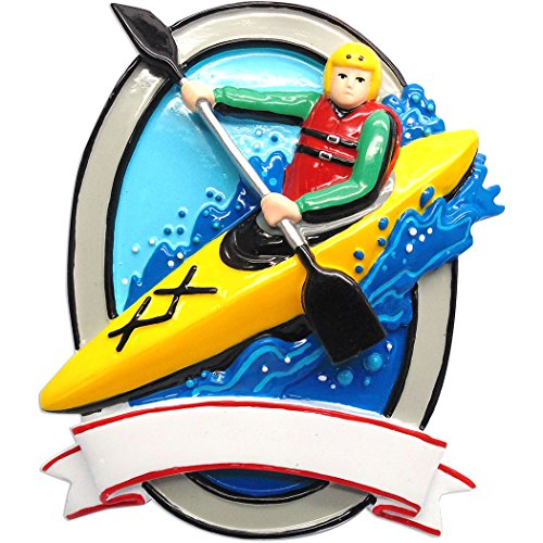 (Personalized Kayak Christmas Tree Ornament 2019 - Safety Vest Paddle Canoe Against Water Wave Active Star Hobby Vacation First Nature Lake Fe-Male Gender Neutral Gift Year - Free Customization )