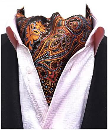 MENDENG Men's Blue Paisley Jacquard Woven Silk Cravat Necktie Scarf Formal Ascot