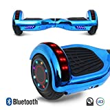 6.5'' inch Chrome Hoverboard Electric Smart Self Balancing Scooter With Built-In Bluetooth Speaker LED Wheels and LED Side Lights- UL2272 Certified (Blue)