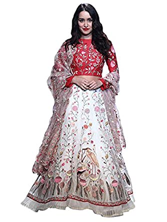 Meet enterprise womens banglori silk with blouse piece lehenga choli mep  563 off white free size  Amazon.in  Clothing   Accessories 2ef4092a9e