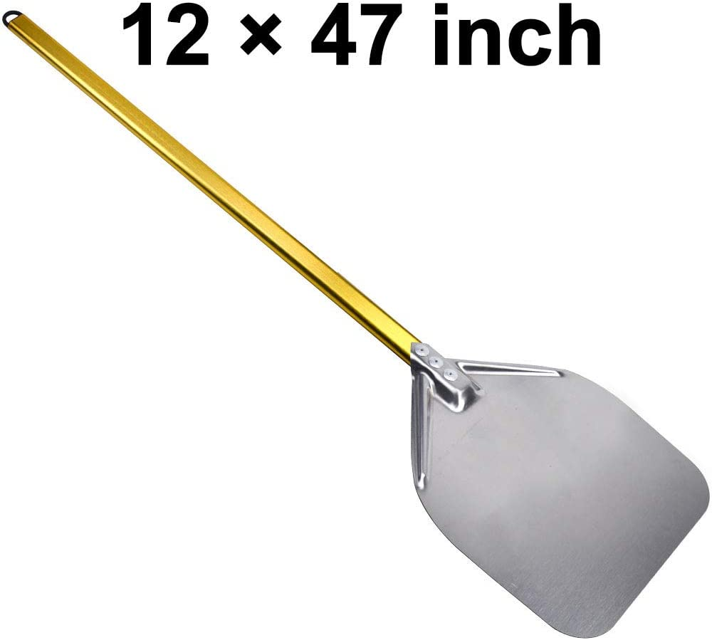 SHANGPEIXUAN Pizza Peel Stainless Steel for Oven Long Handle Pizza Shovel Pizza Paddle 12 Inch in Kitchen Supply Pizza Turner Golden
