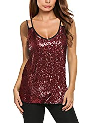 Red Sleeveless Sequin Tank Top