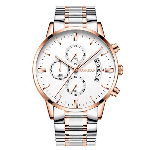 KASHIDUN Men's Sports Fan Watches Casual Quartz Waterproof Chronograph Steel Watches White - Sports Tl